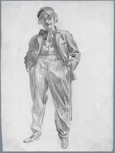 Here's a pencil drawing of a man standing byJoseph Christian Leyendecker (American, born in Germany, 1874–1951) 12 1/2 x 9 5/16 inches, from the collection of the Metropolitan Museum.