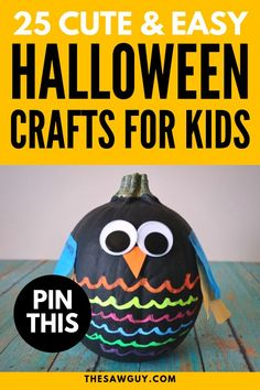Our list of 25 cute and easy DIY Halloween crafts for kids is a perfect way to get the kids involved in this holiday's festivities. From pumpkin owls to ghost balloons, find projects that suit your fancy after the jump. Halloween Crafts for Kids #thesawguy #halloweenideas #halloweendecor #halloweenkids #halloweenideas #halloweendiy #halloweenpumpkin Halloween Crafts For Kids, Halloween Kids, Halloween Pumpkins, Halloween Decorations, Cool Art Projects, Craft Projects For Kids, Arts And Crafts Projects, Holiday Festival, Pumpkin Carving
