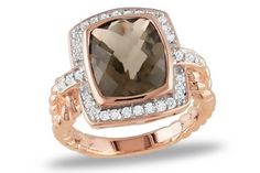 Smokey Quartz, diamonds in pink rhodium. Gorgeous!