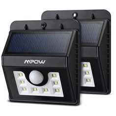 Mpow Super Bright Solar Powered Weatherproof Outdoor Motion Sensor 8 LED Bulb Security Light (Pack of 2)