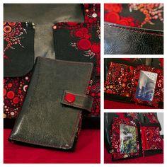 Portefeuille Compère rouge et noir imprimé effervescence cousu par Anne - Patron Sacôtin