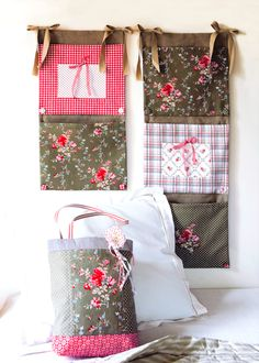 Patchwork Three-Pocket Wall Organizer Sewing Tutorial - this is a great project to become organized and to use up some of that stash fabric!