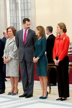 (L-R) Queen Sofia, King Felipe VI of Spain, Queen Letizia of Spain and Infanta Elena attend National Sport Awards 2013 at Royal Palace of El Pardo on 04.12.2014 in Madrid, Spain.