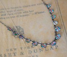 iris rainbow glass | Vintage ART DECO Iris Glass Necklace . 1920s Necklace Jewelry ...