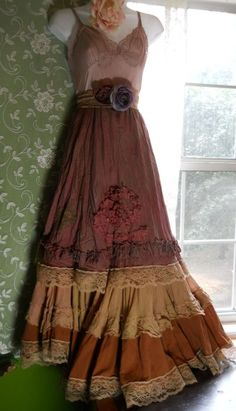 Steampunk maxi   dress tea stained beige dusty mauve tiered cotton  medium  by vintage opulence on Etsy. $140.00, via Etsy.