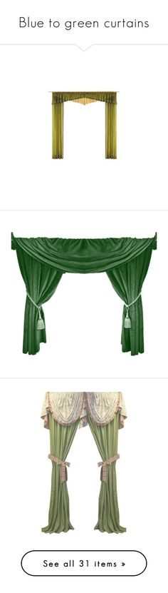 """""""Blue to green curtains"""" by lynxe ❤ liked on Polyvore featuring home, home decor, curtains, drapes, furniture, windows, green, cortinas, fabric and fillers"""