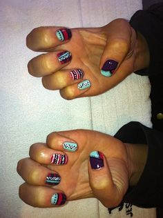 More Aztec nail art created with Jessica Custom Colours. Great way to wear the trend.