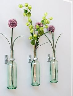 Wine bottles can double as planters and wall art when mounted on a wall