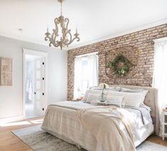Brick Bedroom, Accent Wall Bedroom, Accent Walls, Master Bedroom Makeover, Master Bedroom Design, Dream Bedroom, Master Suite, Faux Brick Walls, Home Building Design