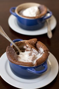 Chocolate Souffle with Cool Whipped Cream Topping