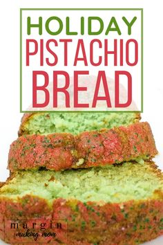 How to Make Pistachio Bread for the Holidays – Margin Making Mom This pistachio bread is a super easy Christmas dessert that starts with a cake mix and pudding! It's fun, festive, and delicious! Perfect for homemade frugal holiday gifts! Holiday Desserts Christmas Cake, Holiday Bread, Christmas Bread, Christmas Baking, Holiday Recipes, Holiday Gifts, Christmas Parties, Christmas Holidays, Christmas Snacks
