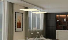 faux plafond neon avec dalles led suspendues dans la cuisine