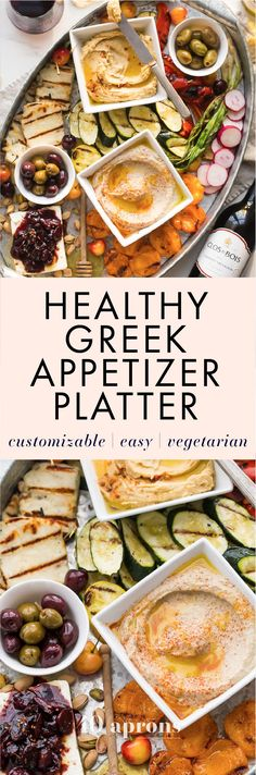 This healthy Greek appetizer platter is perfect for summer entertaining, loaded with healthy make-ahead appetizers you can customize to your own tastes. One of my favorite healthy appetizers! My healthy Greek appetizer platter includes Mediterranean dips and spreads, grilled veggies, fruits, and halloumi, fresh fruit, nuts, and feta topped with a rich, fruity reduction. If you're doing some summer entertaining soon or looking for great healthy appetizers, this healthy Greek appetizer platter…