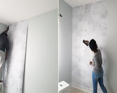 #bedroom #makover #concrete #wall #wallmural #wallpaper Source: http://www.petiteandbold.com/bedroom-makeover-installing-our-pixerstick-wall-mural-a-chic-ikea-hack/