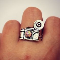 camera ring with pink fire opal $16.00