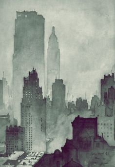 New York watercolour in tones of grey Found on http://journalofanobody.tumblr.com/post/33705607167
