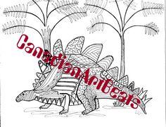 Dinosaur Stegosaurus Coloring Page by CanadianArtBeats on Etsy