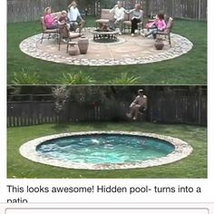 Hidden Pool Turns Into A Patio Safer And More Practical For Cold Weather Months I Would Rather Have This As Hot Tub Maybe With On The