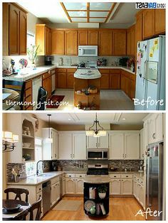 How I envision my Before and After.  This kitchen is like mine..honey oak cabinets, laminate counter tops, vinyl flooring and flourescent lighting :/  The after is bright, classic and timeless.  the only change would be dark hardwood flooring. #StandardPaint New Kitchen Cabinets, Kitchen Reno, Kitchen Backsplash, Kitchen Cabinets Painted Before And After, Paint Backsplash, Kitchen Paint, Cheap Kitchen Remodel, Kitchen Ideas, Kitchen Design
