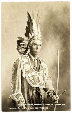 Real Photo Post Card of Joe Francis, a Penobscot wearing a large beaded chief's collar with a deer motif.   Circa 1912.