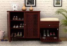 The fantastic design of Hopkin Shoe Rack is created to serve well the purpose as footwear storage unit through sectional storage in row of three, the drawer can store shoe polish, brush kind of stuff Shoe Cabinet Entryway, Wooden Shoe Cabinet, Wooden Shoe Racks, Shoe Storage Cabinet, Entryway Decor, Entry Way Design, Foyer Design, Shoe Storage Furniture, Foyer Furniture