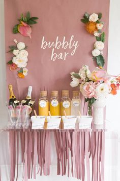 Mimosa Monday, anyone? How cute is this Bubbly Bar for a bachelorette party! We'll be daydreaming about it all day 🥂 Bubbly Bar, Bar Mimosa, Bachelorette Party Decorations, Bridal Shower Decorations, Bridal Shower Favors, Classy Bachelorette Party, Hen Party Decorations, Bridal Shower Pink, Bachlorette Themes