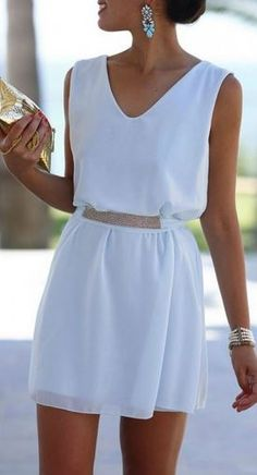 Chic and Stylish Summer Whites! Elegant White Sequin Belt Sleeveless Loose Chiffon Dress. Need this one in knee length skirt. ***