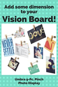 What a cool idea! This should get some action! Add three-dimensional interest to your vision board with Umbra's Pinch photo display featuring clothespin clips that mount with various lengths in a unique presentation for cards or pictures. #visionboard #ad