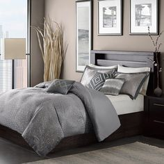 JLA Home INC Madison Park Quinn Queen Size Bed Comforter Set Bed in A Bag - Black, Jacquard – 7 Pieces Bedding Sets – Ultra Soft Microfiber Bedroom Comforters Comforter Sets, Duvet Sets, Home Essence, Home, Stylish Beds, Bed Bath And Beyond, Duvet Cover Sets, Bedding Sets, Bedroom