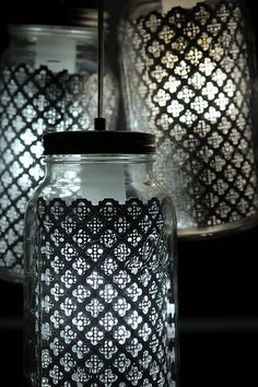 Oooo, even better, wrap the outside in this pattern and spray with a bead blaster to etch the pattern into the glass itself