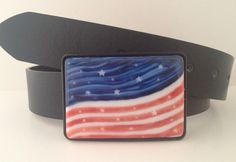 Fused Glass Belt Buckle American Flag, by anjasdesign.com, hand painted and fused to last