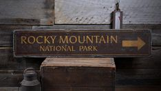 Rocky Mountain National Park Arrow Wood Sign, Personalized Park Name Destination Decor - Rustic Hand Made Vintage Wooden Sign ENS1001706  ****Looking for a custom sign? Please contact us for a special concept just for you.  Most of our signs are designed to change a particular line or two of text so you can personalized it to you family name, business or your favorite destination, be it your home town, or the beach you travel to etc. Any significant changes in design will need to be quoted…