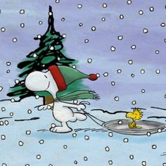 Snoopy Wearing Red and Green Winter Cap Pulling Woodstock on Round Sled During Snowstorm