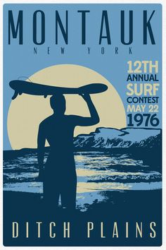 Montauk Ditch Plains Retro Vintage Surf Poster by perfectpeople, $14.99