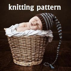 Long Tail Pixie Baby Hat Knitting Pattern in 3 Sizes PDF by 4aSong