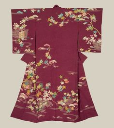 Rinzu (damask) silk with the main designs accomplished with yuzen-dyeing and metallic couching. Late Taisho to early Showa (1918-1935), Japan. The Kimono Gallery