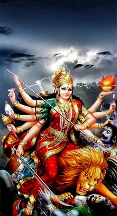 Goddess Durga in which she overcomes different evil presences. With the recitation of each one verse, offerings are made in the conciliatory flame summoning the Goddess. Shiva Parvati Images, Durga Images, Lakshmi Images, Shiva Shakti, Durga Maa Pictures, Lord Durga, Durga Ji, Lord Vishnu, Lord Shiva