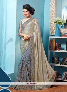 Modish Shimmer Georgette Patch Border Work Classic Designer Saree