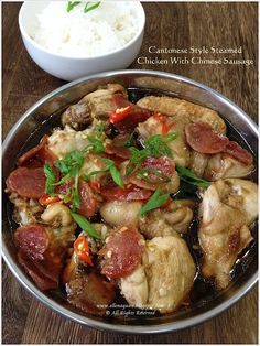 Steamed Chicken With Chinese Sausage (港式腊味蒸鸡)