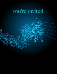 Blue Music Themed Party Invitation Free Printable Party Invitations, Party Printables, Free Printables, Music Themed Parties, Music Party, Party Needs, Blues Music, Youre Invited, Party Themes