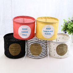 Storage Box Clothing Organizer Stripe Cotton Linen Round Clothing Basket Organizers Rangement Folding Caixa Organizadora #Affiliate
