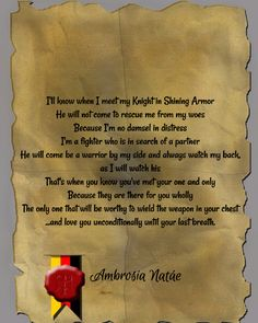 Poetry prose quotes knight in shining armor