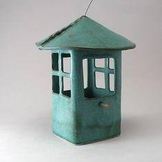 """Window Bird Feeder"" ceramic bird feeder by Cheryl Wolff. . .wonderful color"