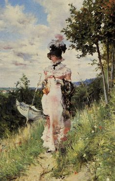 1872-1873 The Summer Stroll by Giovanni Boldini (private collection). From paintingmania.com/summer-stroll-188_21013.html; enlarged by half 1977X3129 @144. Giovanni Boldini, Edgar Degas, Italian Painters, Italian Artist, John Singer Sargent, Illustration, Impressionism Art, Oil Painting Reproductions, Beautiful Paintings