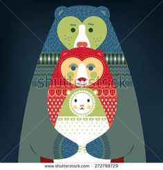 Cute bears family. Daddy Bear hugs Mommy bear and their Baby Bear. Good for Fathers Day, Mothers Day or Birthday greetings. Vector illustration and photo image available.  - stock vector