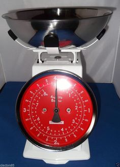 TYPHOON RETRO VINTAGE ENAMEL STAINLESS STEEL KITCHEN WEIGHING SCALES MEASURE 4KG