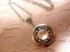 Moon Dance Glow Crystal Necklace White Swarovski Element Locket Necklace - Crystal Locket Wedding And Other Occasions