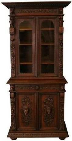 1880 Antique Buffet Hunting French Renaissance Carved Oak Faces Animals