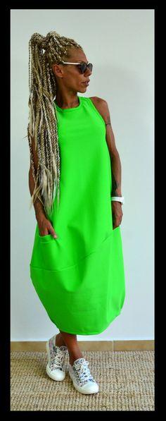 Vert printemps Maxi Robe / Tunique robe de par ClothesByLockerRoom