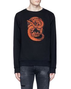 Marcelo Burlon | Blue 'bayo' Snake Embroidery Sweatshirt for Men | Lyst